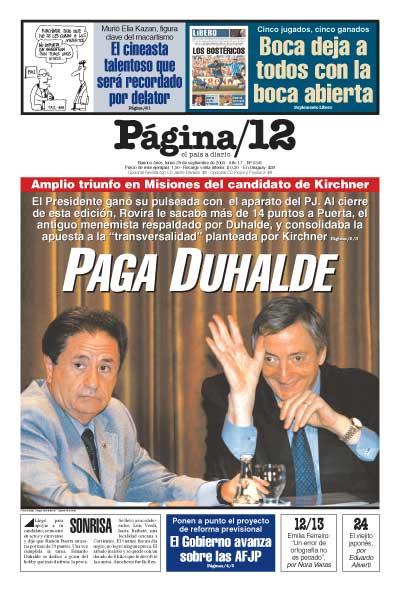 Tapa de la fecha 29-09-2003