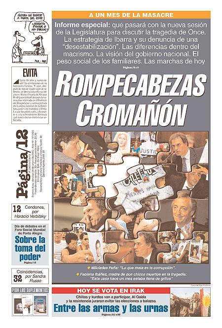 Tapa de la fecha 30-01-2005