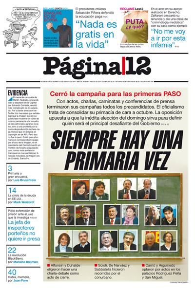 Tapa de la fecha 12-08-2011