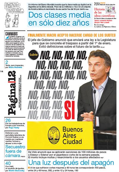 Y llegó un día en el que Macri se hizo cargo