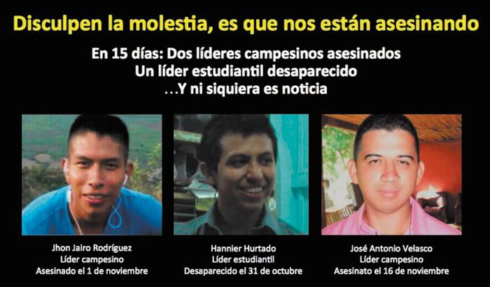 Captura de pantalla de la campaña por los líderes sociales asesinados en Colombia en un recrudecimiento del conflicto social.